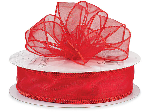 "Red Wired Sensation Sheer 1-1/2""x50 yds 100% Nylon Ribbon"