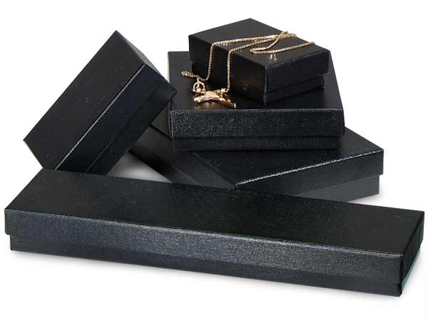 Black Embossed Jewelry Gift Boxes, 5 Size Assortment, 72 Pack