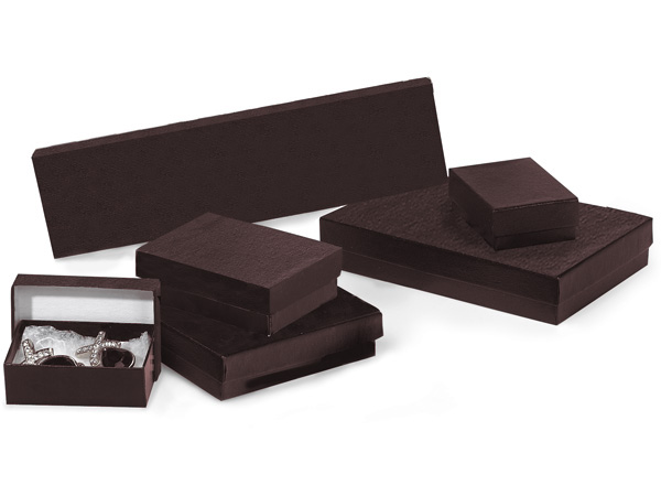 Chocolate Embossed Jewelry Boxes, 6 Size Assortment, 72 Pack