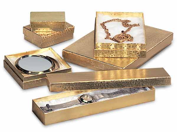 Gold Embossed Foil Jewelry Boxes, 6 Size Assortment, 72 Pack