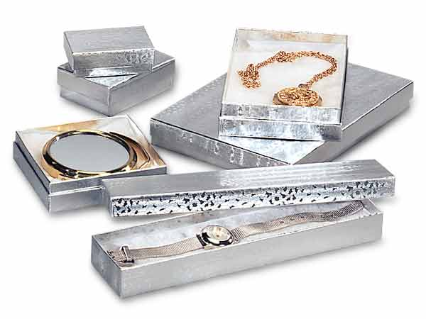 Silver Embossed Foil Jewelry Boxes, 6 Size Assortment, 72 Pack