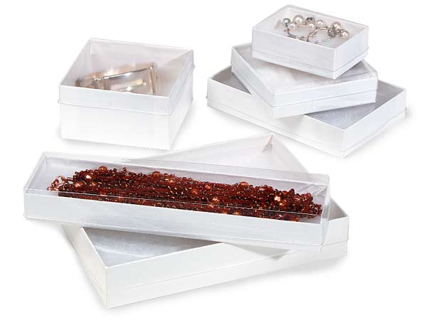 Clear Lid White Base Jewelry Boxes, 6 Size Assortment, 72 Pack