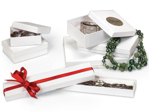 White Embossed Swirl Jewelry Box 6 Size Assortment with cotton fiber
