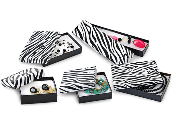 Zebra Jewelry Gift Boxes, 5 Size Assortment, 72 Pack