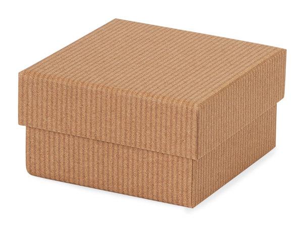 "*Kraft Pinstripe Rigid Gourmet Box, Petite 3.75x3.75x2"", 3 Pack"