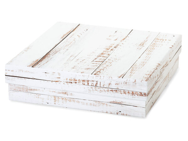 "Distressed Wood Gourmet Box, X-Large 7.75x7.75x2"", 3 Pack"