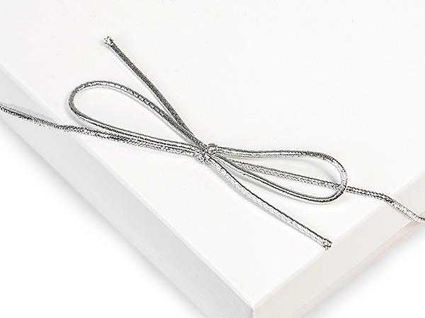"50-Pk 8"" Metallic Silver Stretch Loops 1/16"" Round Elastic Cord"
