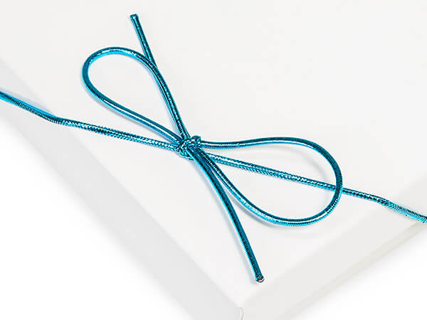"*8"" Metallic Turquoise Stretch Cord Loops with Pre-Tied bows, 50 Pack"