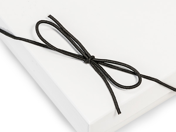 "10"" Matte Black Stretch Cord Loops with Pre-Tied Bows, 50 Pack"