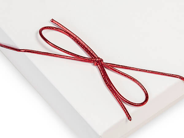 """16"""" Metallic Red Stretch Cord Loops with Pre-Tied Bows, 50 Pack"""