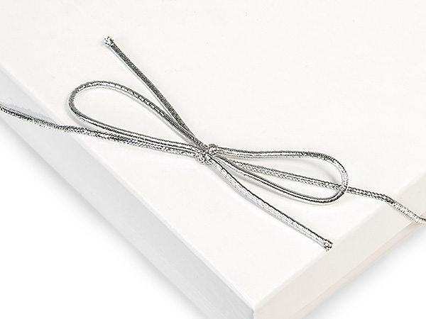 """16"""" Metallic Silver Stretch Cord Loops with Pre-Tied Bows, 50 Pack"""