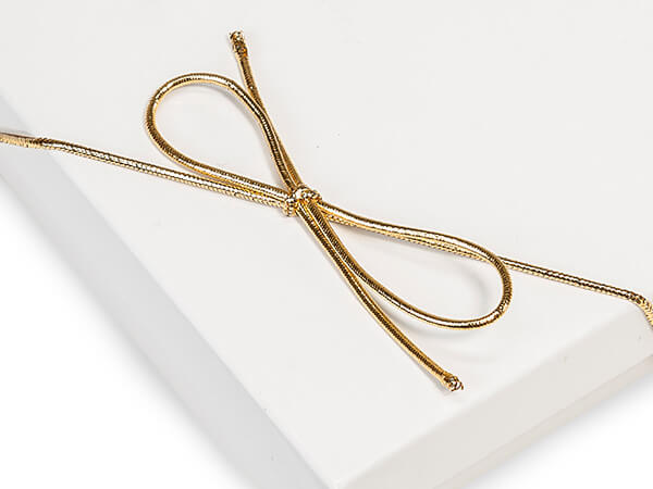 "19"" Metallic Gold Stretch Cord Loops with Pre-Tied Bows, 1000 Pack"