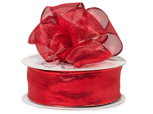 "Wired Metallic Red Reflections Ribbon 1-1/2"" x 50 yds"