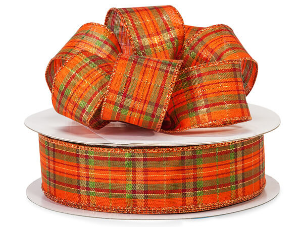 "Pumpkin Plaid Wired Ribbon 1-1/2"" x 50 yds"