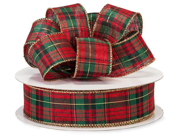 "Holiday Plaid Wired Ribbon 1-1/2""x50 yds"