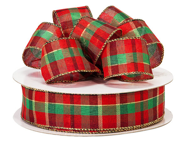 modern plaid christmas wired ribbon 15 x 50