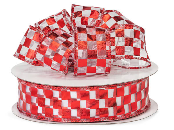 "Wired Red Checkerboard Foil Ribbon 1.5"" x 50yds"