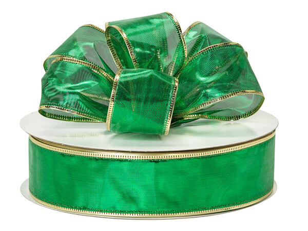 "Metallic Emerald Wired Gleam with Gold Edge, 1-1/2""x50 yards"