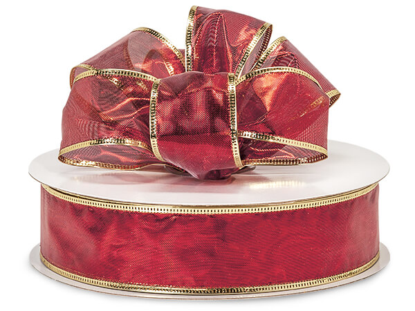"*Metallic Red Gleam with Gold Edge Wired Ribbon, 1-1/2""x50 yards"