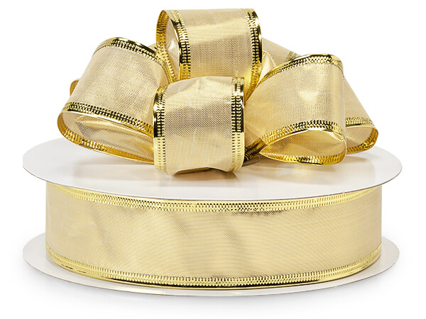 """Wired Gold Metallic Gleam with Gold Edge 1.5"""" x 50yds"""