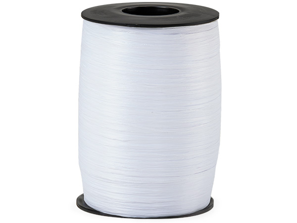 White Matte Raffia Ribbon, 500 yards