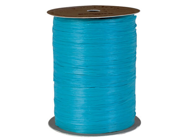 Aqua Matte Raffia Ribbon, 100 yards