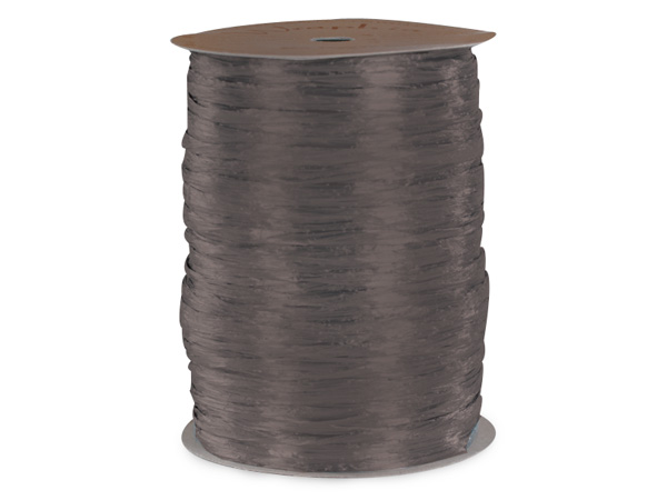 Charcoal Gray Matte Raffia Ribbon, 100 yards