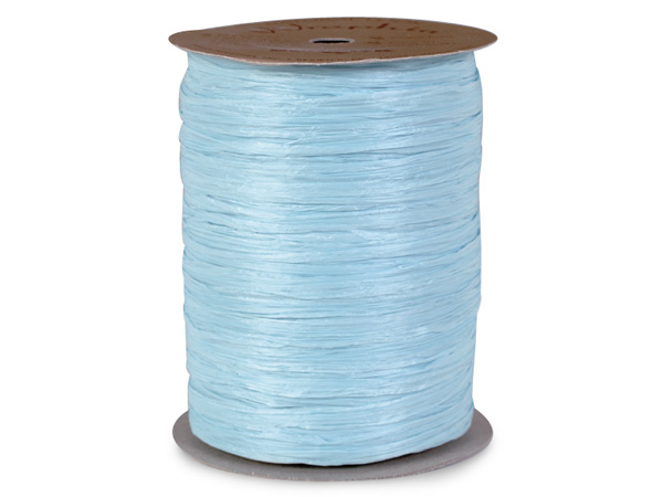 Light Blue Matte Raffia Ribbon, 100 yards