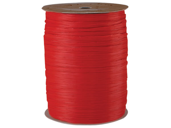 Red Matte Raffia Ribbon, 100 yards