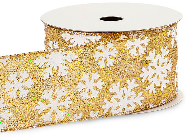 "**Golden Glitter Snowflakes Wired Ribbon, 2-1/2""x10 yards"