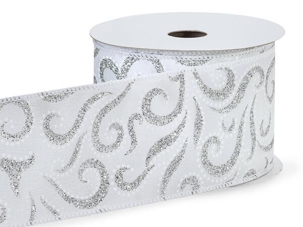 "Silver Glitter Swirls on White Wired  Ribbon, 2-1/2""x10 yards"