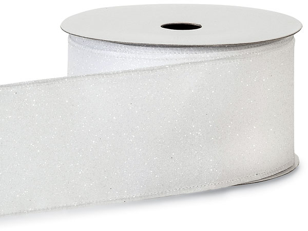 "Wired White Christmas Morning Satin Glitter Ribbon 2. 5"" x 10 yds"