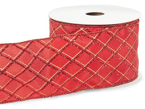 "Red Glitter Diamonds Wired Ribbon, 2-1/2""x10 yards"