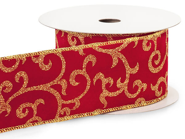"**Gold Glitter Scroll on Red Velvet Wired Ribbon, 2-1/2""x10 yard"