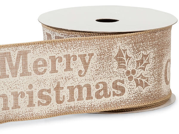 """*Natural Merry Christmas Text Wired Ribbon, 2-1/2"""" x 10 yards"""