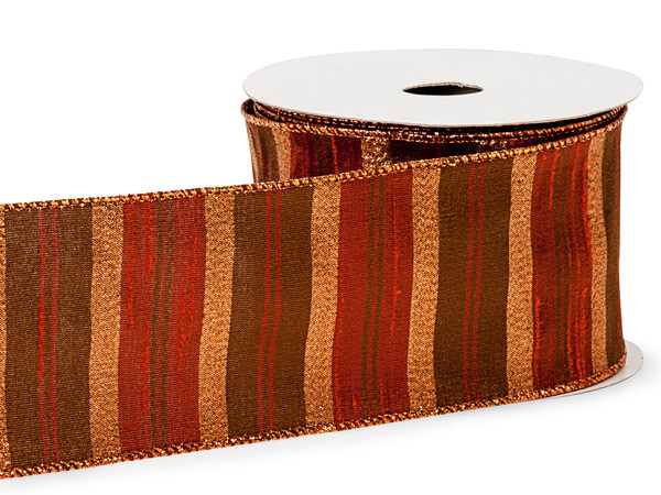 "*Copper Fall Multi Stripes Ribbon 2-1/2"" x 10 yds"