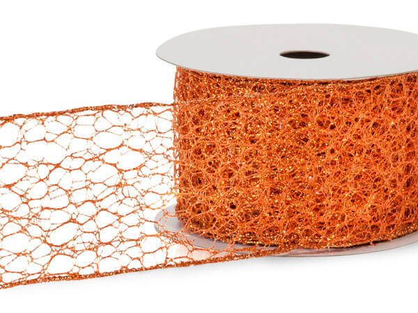 "*Glitter Orange Mesh Wired Ribbon, 2-1/2""x10 yards"