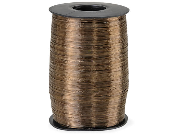 Chocolate Pearlized Raffia Ribbon, 500 yards