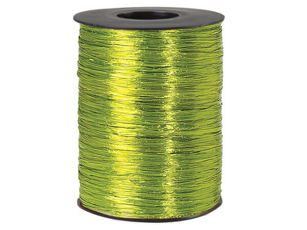 Chartreuse Pearlized Raffia Ribbon, 500 yards