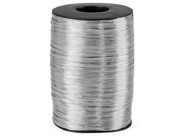 Silver Pearlized Raffia Ribbon, 500 yards
