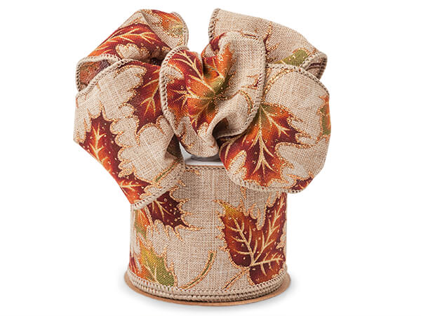 """Autumn Leaves Natural Linen Wired Ribbon, 2-1/2""""x10 yards"""