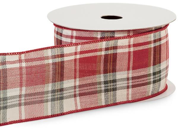 "Red and Black Tartan Plaid Ribbon 2.5"" x 10 yards"