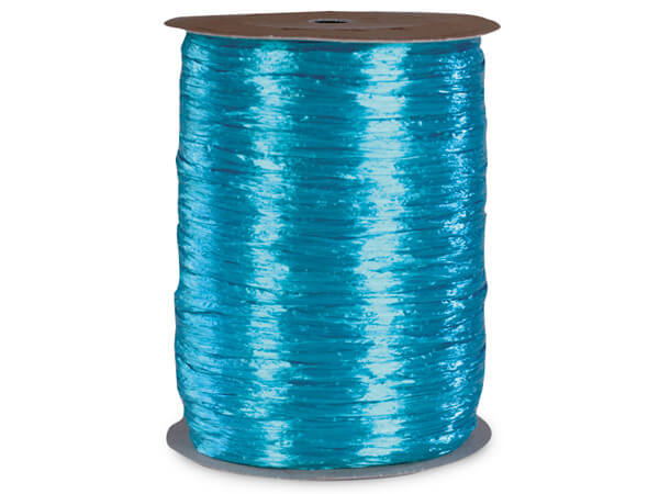Aqua Pearlized Raffia Ribbon, 100 yards