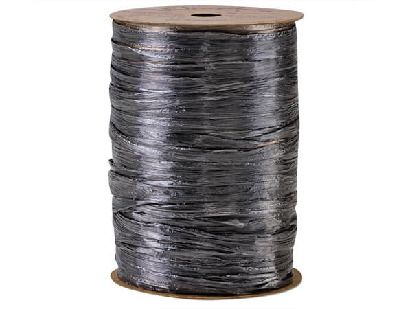 Charcoal Pearlized Raffia    Ribbon, 100 yards
