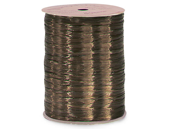 Chocolate Pearlized Raffia Ribbon, 100 yards
