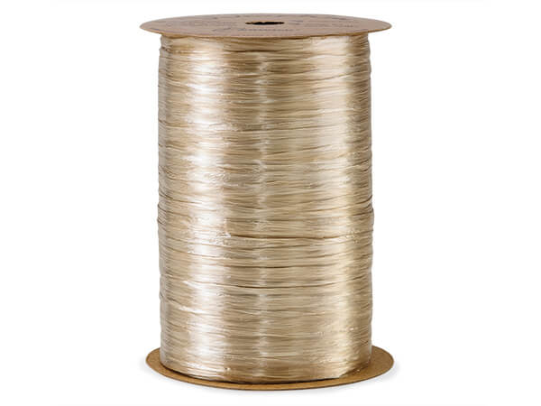 Ivory Buff Pearlized Raffia Ribbon, 100 yards