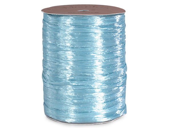 Light Blue Pearlized Raffia Ribbon, 100 yards