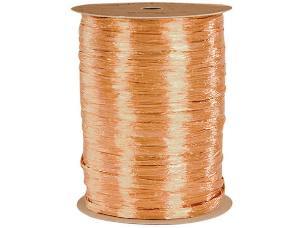 Melon Pearlized Raffia Ribbon, 100 yards