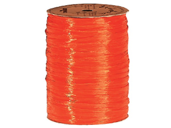 Orange Pearlized Raffia Ribbon, 100 yards