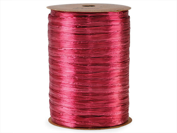 Raspberry Pearlized Raffia Ribbon, 100 yards